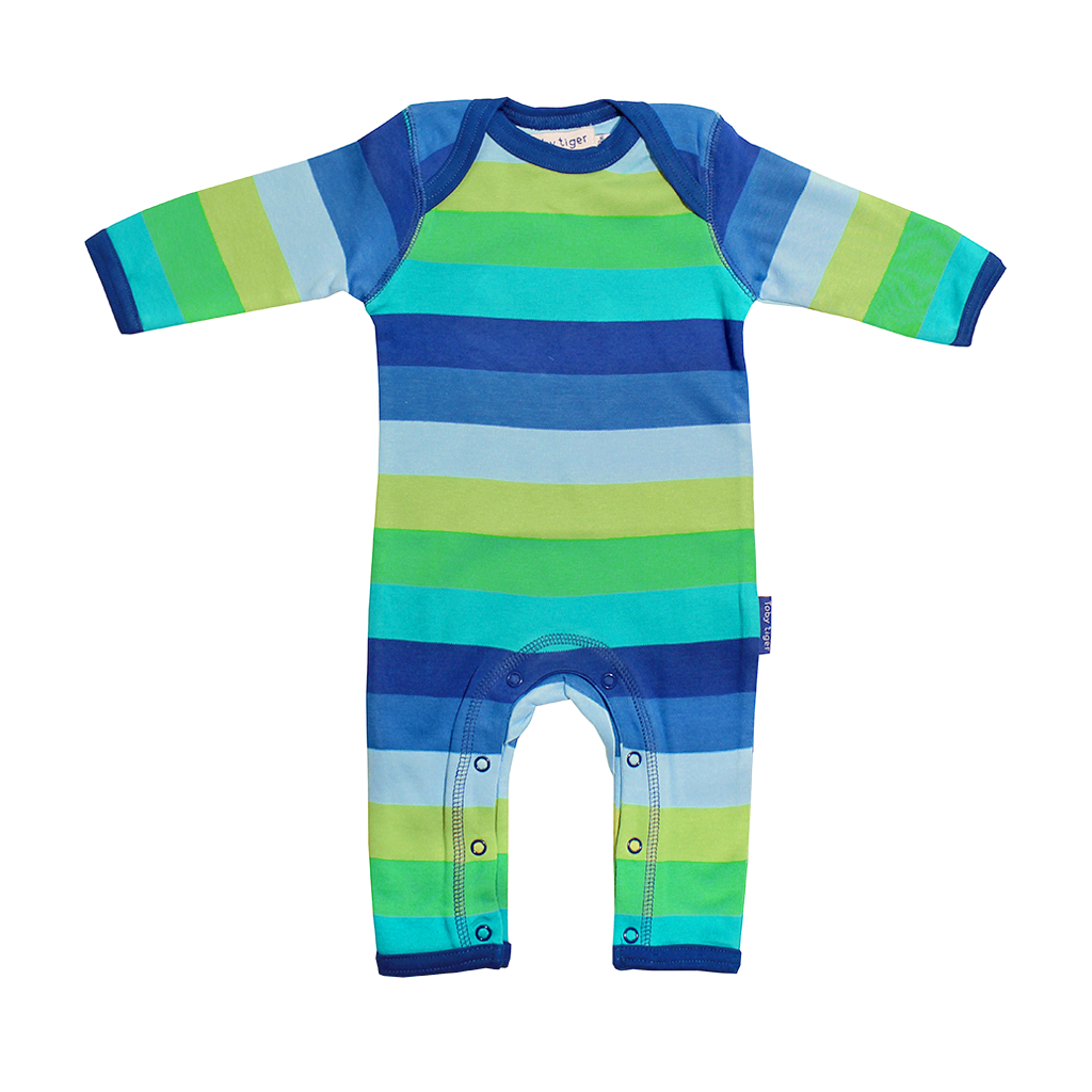 Organic Cotton Baby Clothes – Blue Stripe Sleepsuit