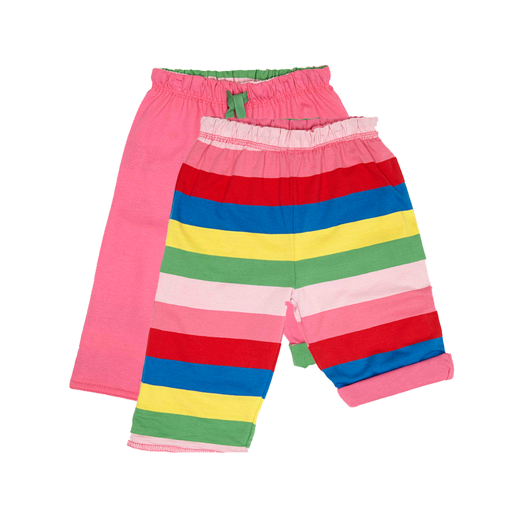 Pink Girly Stripe Reversible Trousers – Organic Cotton